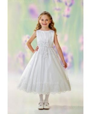 Girls Dress Style 0613218 Ivory Tea-length Lace Bateau A-line Dress in Choice of Colour