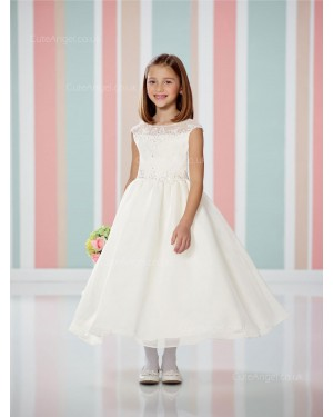 Girls Dress Style 0614118 Ivory Tea-length Beading Bateau A-line Dress in Choice of Colour