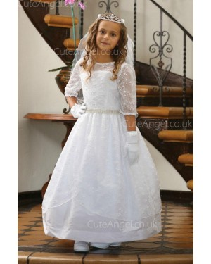 Girls Dress Style 061418 White Floor-length Lace , Beading Bateau A-line Dress in Choice of Colour