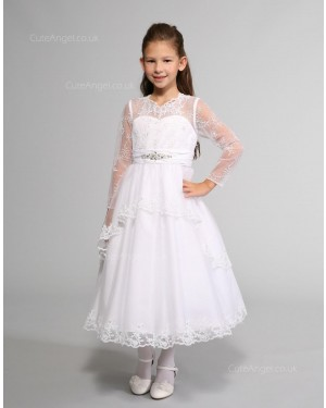 Girls Dress Style 0614418 White Tea-length Lace , Beading V-neck A-line Dress in Choice of Colour