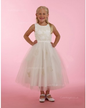 Girls Dress Style 0614618 Champagne Tea-length Lace Bateau A-line Dress in Choice of Colour