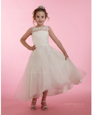 Girls Dress Style 0614818 Ivory Ankle Length Lace Bateau A-line Dress in Choice of Colour