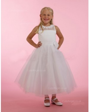 Girls Dress Style 0615018 Ivory Ankle Length Hand Made Flower Round A-line Dress in Choice of Colour