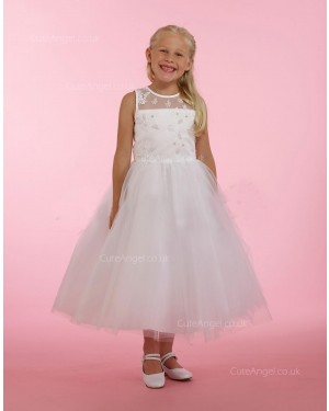 Girls Dress Style 0615118 Ivory Ankle Length Lace , Beading Round A-line Dress in Choice of Colour