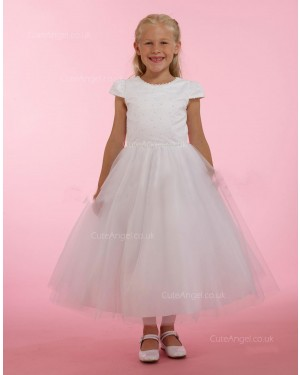Girls Dress Style 0615218 Ivory Ankle Length Beading Round A-line Dress in Choice of Colour