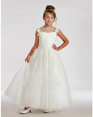 Girls Dress Style 0615518 Ivory Floor-length Lace , Beading Round A-line Dress in Choice of Colour