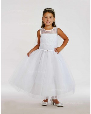 Girls Dress Style 0615818 Ivory Ankle Length Belt Round A-line Dress in Choice of Colour