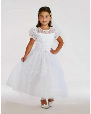 Girls Dress Style 0615918 Ivory Ankle Length Beading Round A-line Dress in Choice of Colour