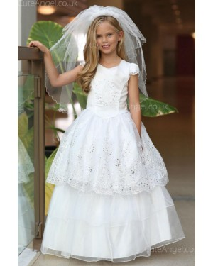 Girls Dress Style 061618 Ivory Floor-length Lace Bateau A-line Dress in Choice of Colour