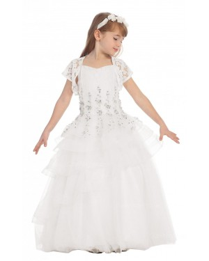 Girls Dress Style 0617418 Ivory Floor-length Beading V-neck A-line Dress in Choice of Colour