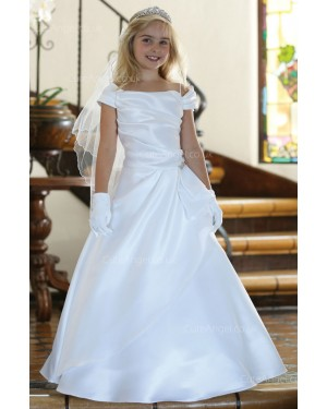 Girls Dress Style 061918 Ivory Floor-length Beading  A-line Dress in Choice of Colour