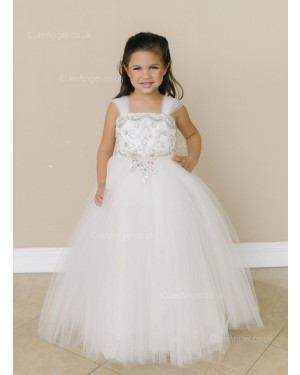 Girls Dress Style 0619218 Ivory Floor-length Beading Square A-line Dress in Choice of Colour