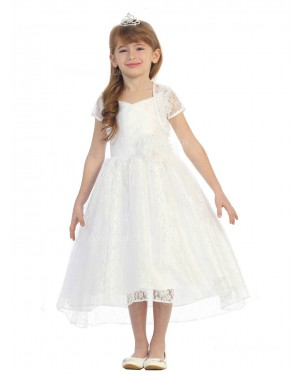 Girls Dress Style 0619418 Ivory Tea-length Hand Made Flower V-neck A-line Dress in Choice of Colour