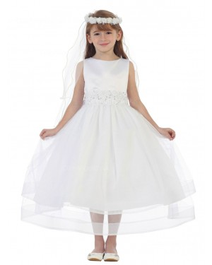 Girls Dress Style 0619618 Ivory Tea-length Beading Bateau A-line Dress in Choice of Colour