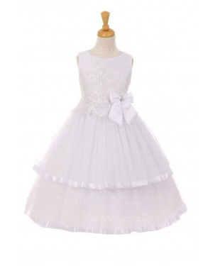 Girls Dress Style 0621018  Floor-length Hand Made Flower Bateau A-line Dress in Choice of Colour