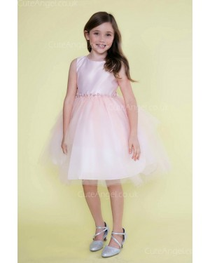 Girls Dress Style 0621318 Blushing Pink Knee-Length Bowknot , Beading Round A-line Dress in Choice of Colour