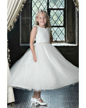 Girls Dress Style 0622418 Ivory Tea-length Beading Round A-line Dress in Choice of Colour