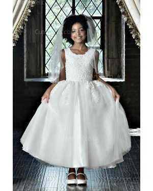 Girls Dress Style 0622818 Ivory Ankle Length Applique Bateau A-line Dress in Choice of Colour