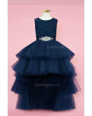 Girls Dress Style 0624118 Dark Navy Ankle Length Beading Bateau A-line Dress in Choice of Colour