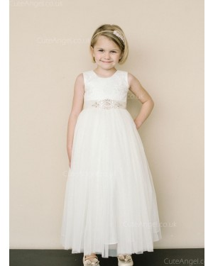 Girls Dress Style 0625518 Ivory Ankle Length Lace , Beading , Bowknot Bateau A-line Dress in Choice of Colour
