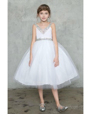Girls Dress Style 0626318 Ivory Knee-Length Beading V-neck Ball Gown Dress in Choice of Colour