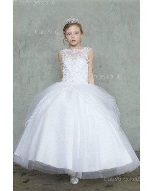 Girls Dress Style 0627918 Ivory Floor-length Lace Bateau ball Gown Dress in Choice of Colour