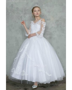 Girls Dress Style 0628018 Ivory Floor-length Lace V-neck Ball Gown Dress in Choice of Colour