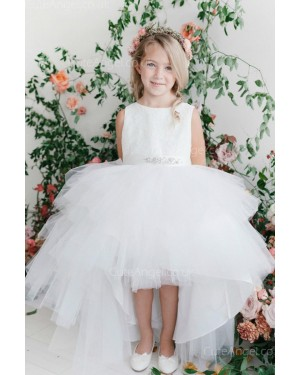 Girls Dress Style 063318 Ivory Floor-length Beading Bateau A-line Dress in Choice of Colour