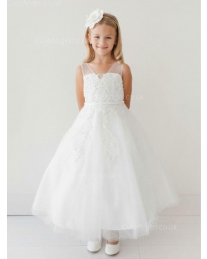 Girls Dress Style 063618 Ivory Floor-length Applique V-neck A-line Dress in Choice of Colour