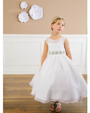 Girls Dress Style 064218 Ivory Ankle Length Lace Bateau A-line Dress in Choice of Colour