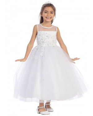 Girls Dress Style 064318 White Ankle Length Applique Round A-line Dress in Choice of Colour
