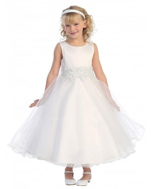 Girls Dress Style 064718 Ivory Ankle Length Applique Bateau A-line Dress in Choice of Colour