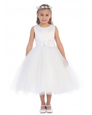 Girls Dress Style 064918 Ivory Tea-length hand Made Flower Bateau A-line Dress in Choice of Colour