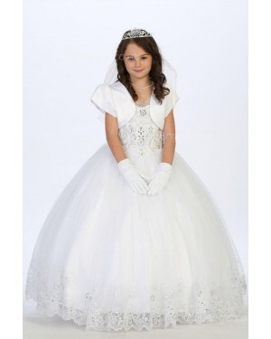 Girls Dress Style 065018 Ivory Floor-length Lace , Beading Bateau A-line Dress in Choice of Colour