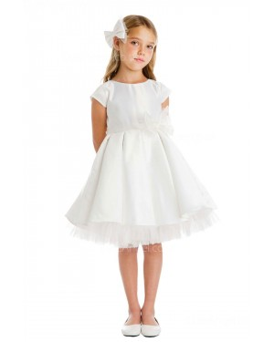 Girls Dress Style 065718 Ivory Knee-Length Hand Made Flower Bateau A-line Dress in Choice of Colour