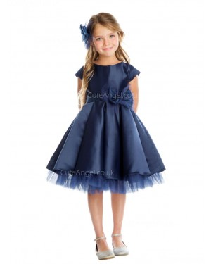 Girls Dress Style 065818 Dark Navy Knee-Length Hand Made Flower Bateau A-line Dress in Choice of Colour