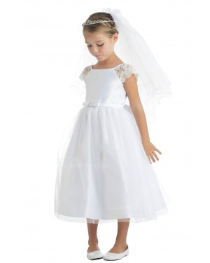 Girls Dress Style 066918 Ivory Tea-length Lace Bateau A-line Dress in Choice of Colour