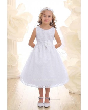 Girls Dress Style 069018 White Tea-length hand Made Flower Bateau A-line Dress in Choice of Colour