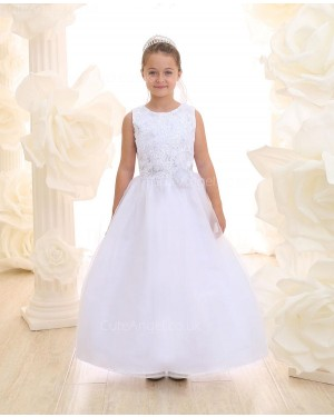 Girls Dress Style 069618 Ivory Floor-length Hand Made Flower , Applique  A-line Dress in Choice of Colour