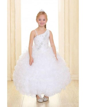 Girls Dress Style 069718 Ivory Ankle Length Tiered , Beading One Shoulder A-line Dress in Choice of Colour