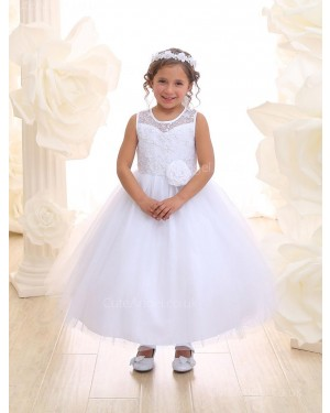 Girls Dress Style 069818 Ivory Ankle Length Hand Made Flower , Lace Round A-line Dress in Choice of Colour