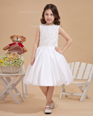 Beautiful Amazing Ivory Knee-Length A-line Flower Girl / DressFirst Communion Dress