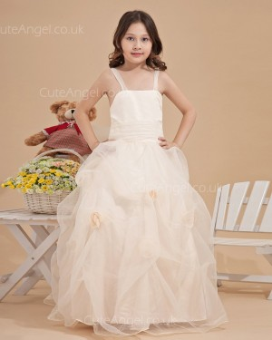 Budget Champagne Floor-length A-line First Communion / Pageant Dress