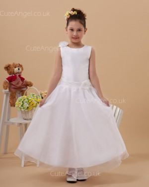 Budget Discount Ivory Ankle Length A-line First Communion / Flower Girl Dress