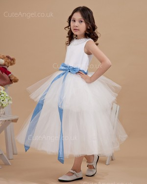 Budget Girls Vintage Ivory Tea-length Ball Gown Flower Girl / First Communion Dress