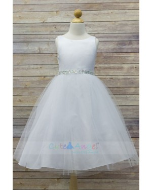High Quality Dull Satin top with Tulle Skirt and Navette Shape Stone Sash Girl Party Dress
