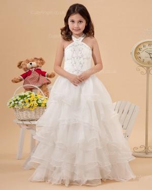 Designer Celebrity Vintage Ivory Sweep A-line First Communion / Flower Girl Dress
