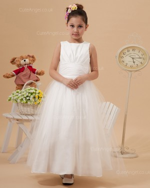 Elegant Amazing Ivory Ankle Length A-line First Communion / Flower Girl Dress