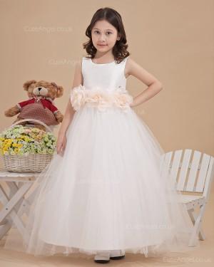 Elegant Ivory Ankle Length A-line First Communion / Flower Girl Dress