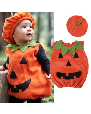Newly Cosplay Halloween Toddler Baby Kid Pumpkin Print Sleeveless Romper Jumpsuits Tops+Hats Baby Clothes 2PCS Costumes